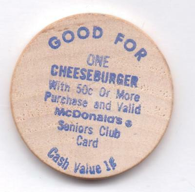 Mcdonald's-Good For One Cheeseburger-Wooden Nickel-One 1/2 Inches Width