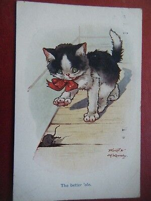 Cat Chasing A Mouse - Scarce Knight & Kennedy Comic Postcard!