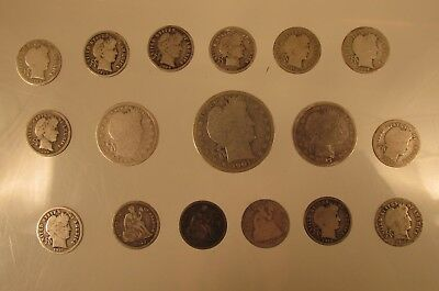 Old Silver Coin Lot Barber and Seated Liberty  @ A Village Coin Bullion Auction