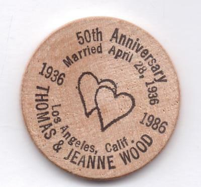 50Th Anniversary-Thomas&jeanne Wood-1936-1986-Wooden Nickel-One 1/2 Inches Width
