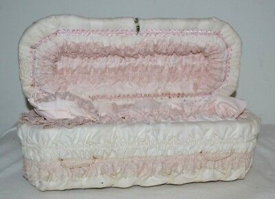 Vintage Miniature Salesman Sample Casket Coffin #60  White and Pink Lace