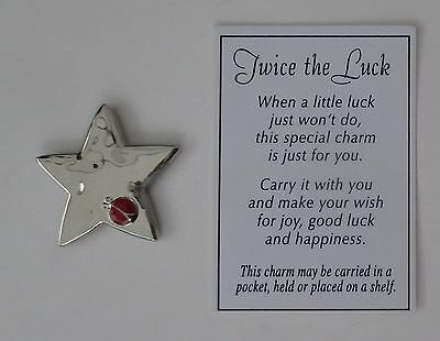 cc TWICE THE LUCK STAR Ladybug joy good luck POCKET TOKEN lucky charm ganz zinc