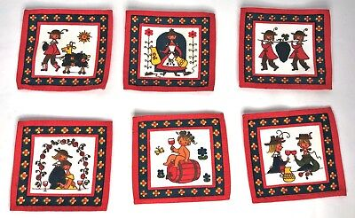 "Set 12 Fabric Drink Coasters KOLF Austria Folk Art Wine Tasting Red 4.5"" Square"