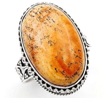 American Picture Jasper 925 Solid Sterling Silver Ring Jewelry Sz 9, S3-2