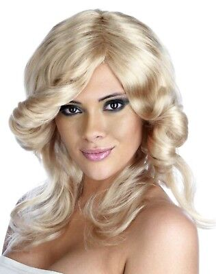 Blonde Ladies Farrah Flick Wig Accessory For 70s Fancy Dress Adults Womens