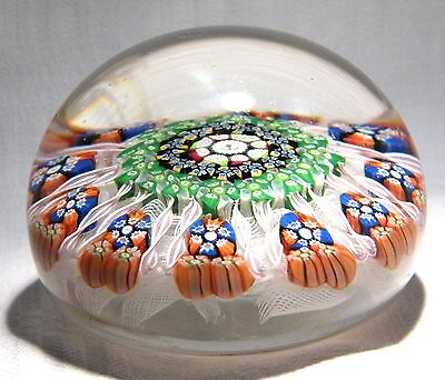 Perthshire Glass Paperweight  Muslin Ground Thistle Date & P Cane 1975