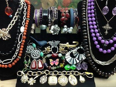Large Lot Of Vintage~Now Costume Jewelry Earrings, Bracelets, Brooches... (E111)