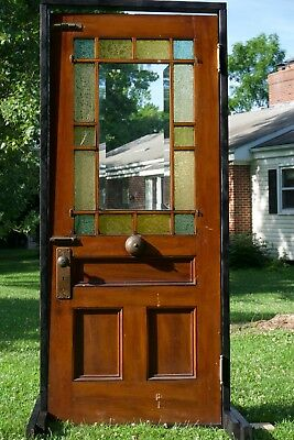 Antique American Stained Glass Entry Door 1800s Victorian Architectural Salvage