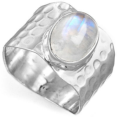 Sterling Silver 925 Moonstone Hammered Wide Band Ring with Stone Women Size 6 8