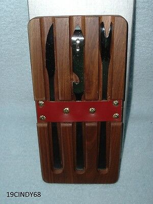 """Vintage """"the Capri Party Block"""" Walnut & Stainless Bar Set By Latama Italy"""