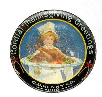 Antique 1910 C.D. Kenny Co. Cordial Thanksgiving Greetings Tip Tray