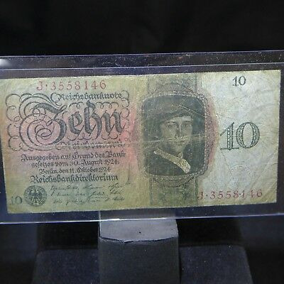 GERMANY 1924 10 REICHSMARK BankNOTE RARE! VG w/pinholes