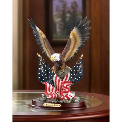 Patriotic BALD EAGLE Statue Figurine American Flag Wings Wood Accent NEW #32419