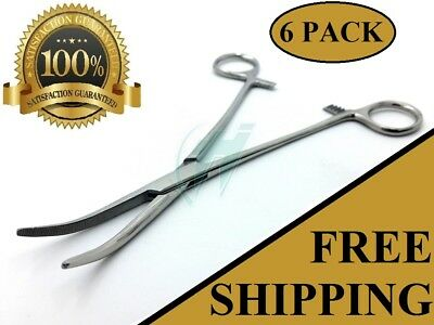"""6 Kelly Hemostat Locking Forceps 8"""" Curved Tip Surgical Instruments"""