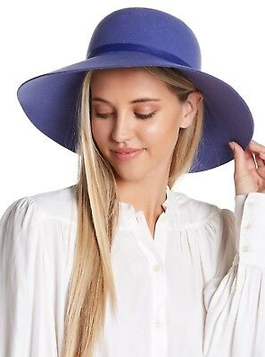 Eric Javits Womens Vicki Water Repellent Wool Hat Wide Brim Felted Purple OS a8373d103e81