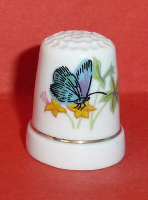 Blue BUTTERFLY Thimble Yellow Flowers