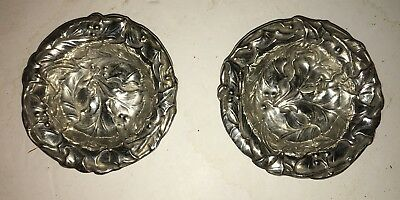 PAIR of Antique Sterling Silver 925 Art Nouveau Floral Repose Relief Dishes Bowl
