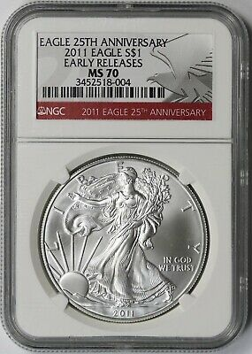 2011 25th Anniversary American Silver Eagle Dollar $1 MS 70 NGC Early Releases