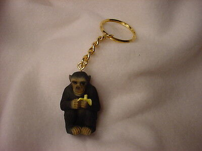 CHIMPANZEE KEYCHAIN Hand Painted Chimp Monkey FIGURINE Resin Christmas Ornament
