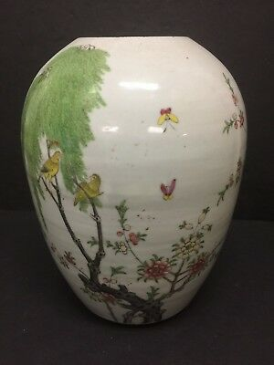 Antique Chinese Famille Cherry Tree Birds Butterflies Canton Vase Ginger Pot