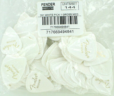 Fender 351 Classic Celluloid Guitar Picks WHITE MEDIUM 144 pack  0980351380 NEW