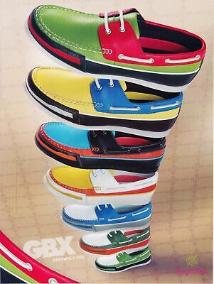 Print Ad~2008~GBX Shoes~Colorful Boat Shoe Stack~Advertisement~H700