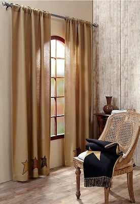 """Stratton Burlap Star Window 84"""" Panels : Primitive Natural Brown Country Curtain"""