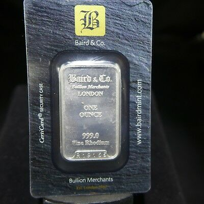 1 OZ BAIRD & CO MINT 999.0 FINE RHODIUM ONE OUNCE BAR - Sealed Card