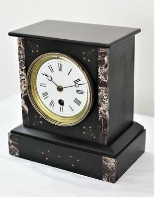 A GOOD C1880 FRENCH VICTORIAN 8 day POLISHED BLACK SLATE AND MARBLE MANTLE CLOCK