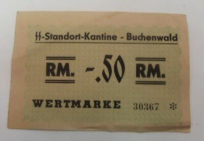 Concentration Camp Money SS Standort Kantine Buchenwald 0.50 RM Ghetto Authentic