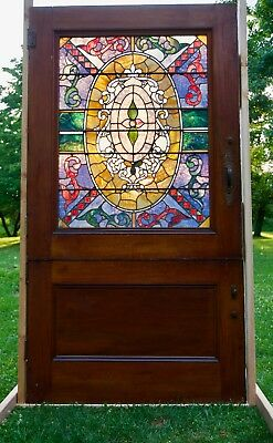 Monumental Antique American Stained Glass Entry Door Farm Dutch Door Victorian