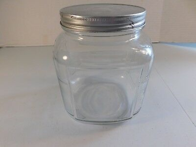 Vintage Square Glass Candy Counter Jar, 5 1/2 by 5 1/2 Inches, 6 Inches Tall