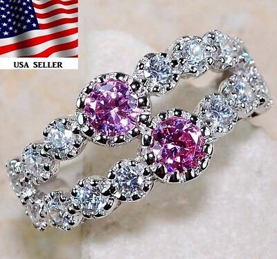2CT Pink Sapphire & White Topaz 925 Solid Sterling Silver Ring Jewelry Sz 7