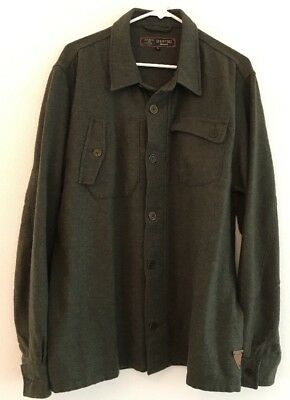 Men's BARBOUR Dept B Pedal Wool Button Front Jacket Coat Size XL X-Large Green