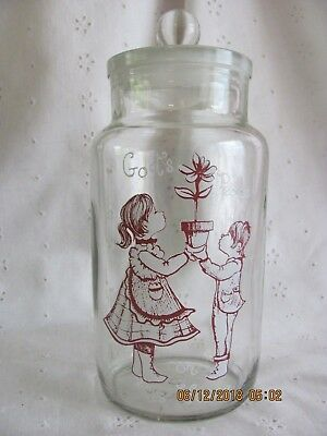 Vintage British Made Apothecary Jar Ground Stopper God's Peace on This House