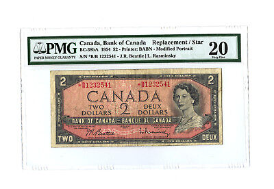 1954 $2 BANK OF CANADA PMG 20 BC-38bA REPLACEMENT STAR B/B BANKNOTE S/N 1232541