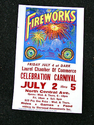 ORIGINAL 4th of JULY DECORATOR COLORS FIREWORKS CARNIVAL ADVERTISING SIGN POSTER