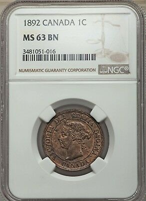 Victoria Cent 1892 London mint NGC MS63 Brown