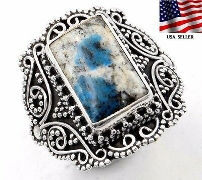 K2 Blue - Azurite In Quartz 925 Solid Sterling Silver Ring Jewelry Sz 7.5, S7-2