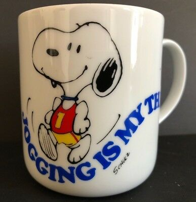 Vintage Peanuts Snoopy Woodstock Jogging Is My Thing White Coffee Mug Cup