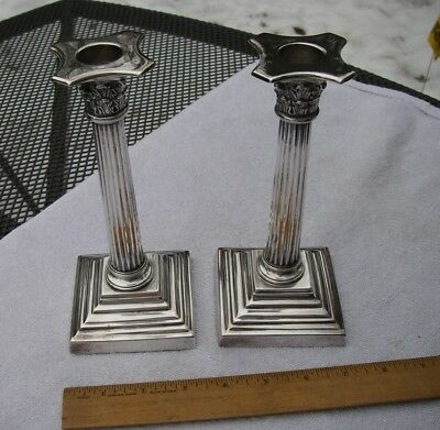 PAIR Antique English Silverplate CANDLESTICKS-Corinthian Column Form-Sheffield?