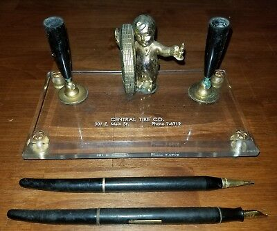 Vintage Fisk Tire Company desk pen set sign Central Tire Chattanooga Tennessee