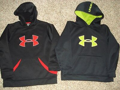 Lot of 2 Boys Under Armour UA Loose Pullover Hoodie Sweatshirts sz YMD EUC