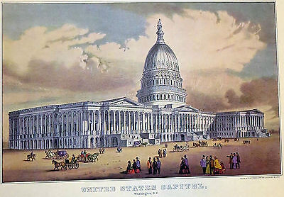 United States Capitol Washington DC c1800s 1952 Color Lithograph Currier Ives