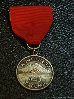 Vintage Swimming Medal Amateur Athletic Union Northwest AAU Tacoma Washington