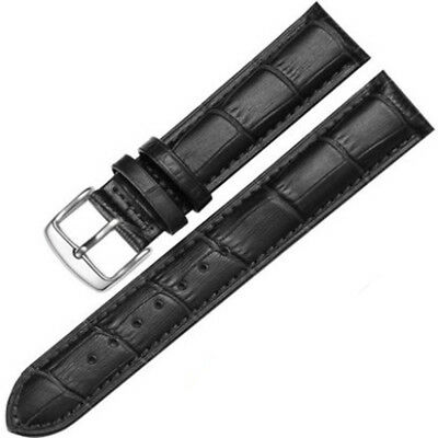 8-24mm Mens Womens Unisex Silver Clasp Wrist Watch Leather Strap Bands & Tool