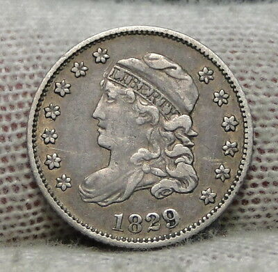 1829 Capped Bust Half Dime H10C 5 Cents - Nice Old Coin, Free Shipping  (7128)