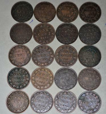 Canada Large Cent Lot of 20 Coins - Queen Victoria