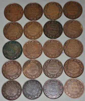 Canada Large Cent Lot of 20 Coins - King Edward VII and King George V
