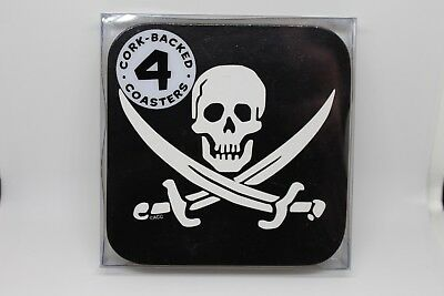 Pirate Flag Coasters *Set of 4* Cork Backed* New
